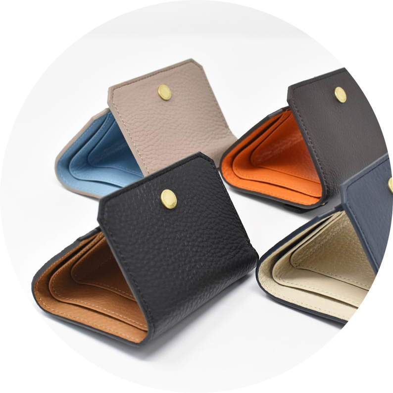 お洒落なコンビカラー コンパクト三つ折り財布